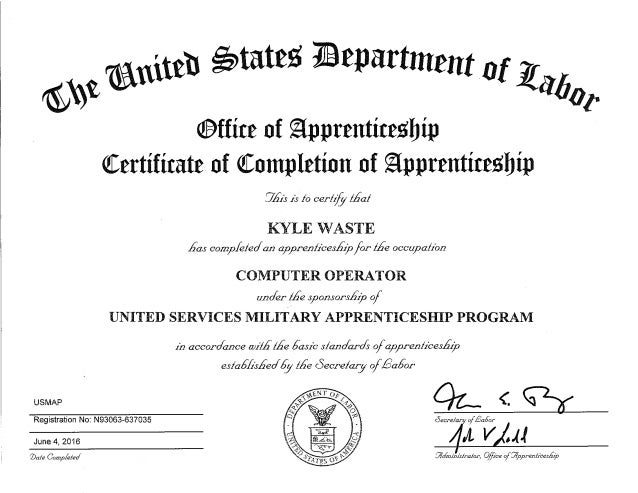 Us Map Certification.Computer Operator