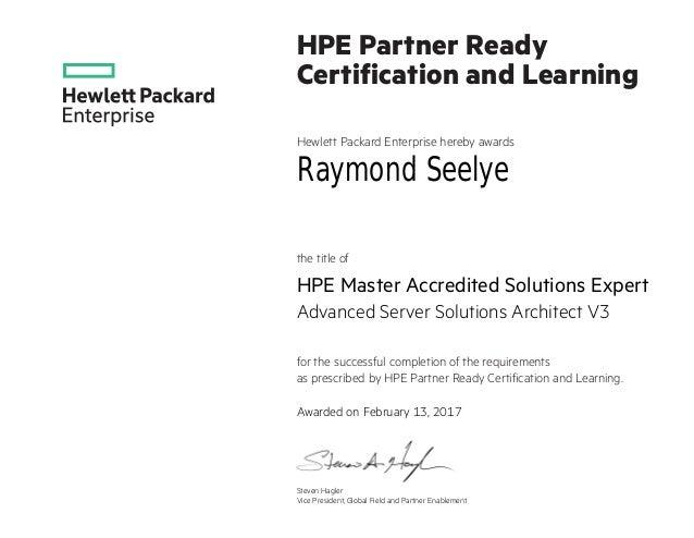 Hpe Master Ase Advanced Server Solutions Architect V3