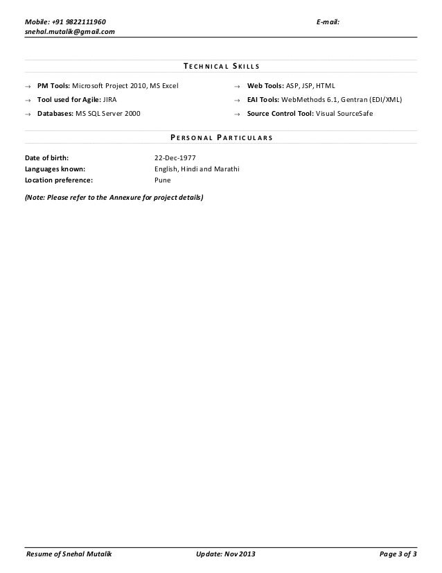 snehal mutalik resume