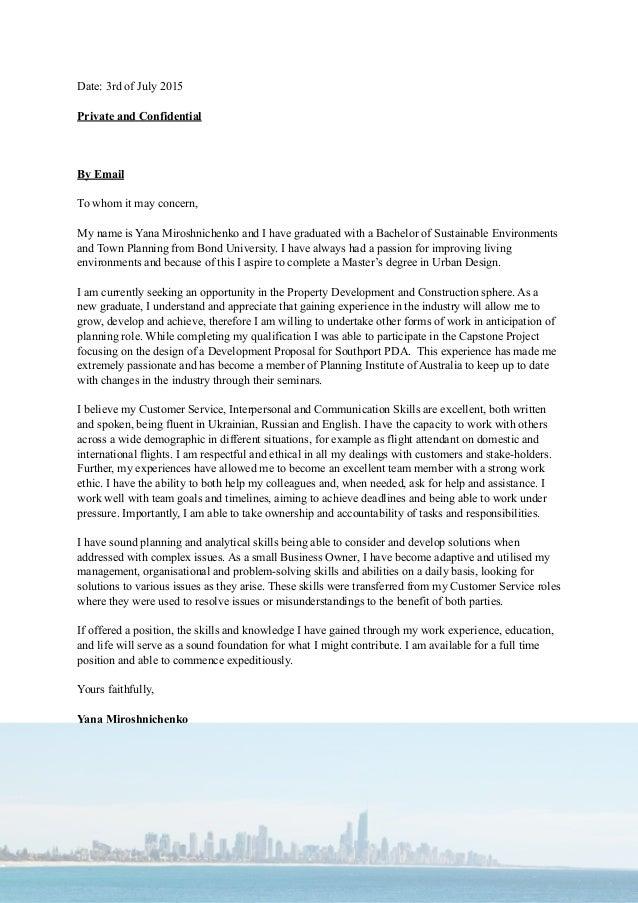 Yana Miroshnichenko Application Letter CV
