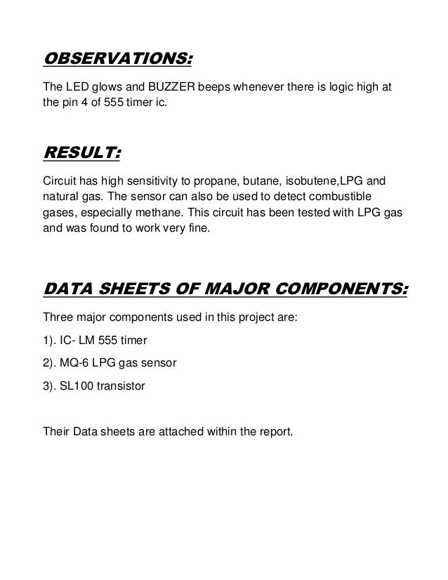 lpg gas detector project report pdf