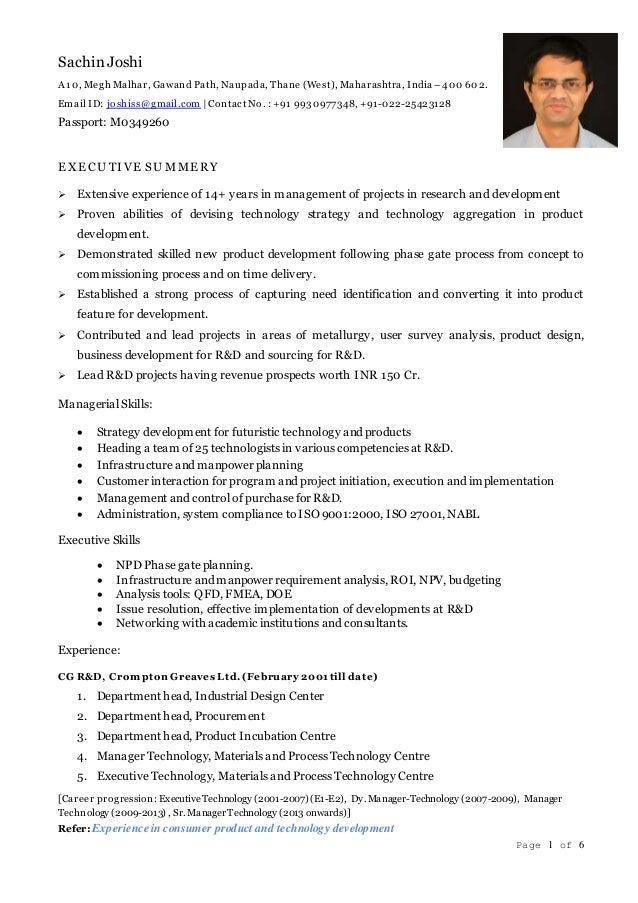 Page 1 of 6 Sachin Joshi A10, Megh Malhar, Gawand Path, Naupada, Thane (West), Maharashtra, India –400 602. Email ID: josh...