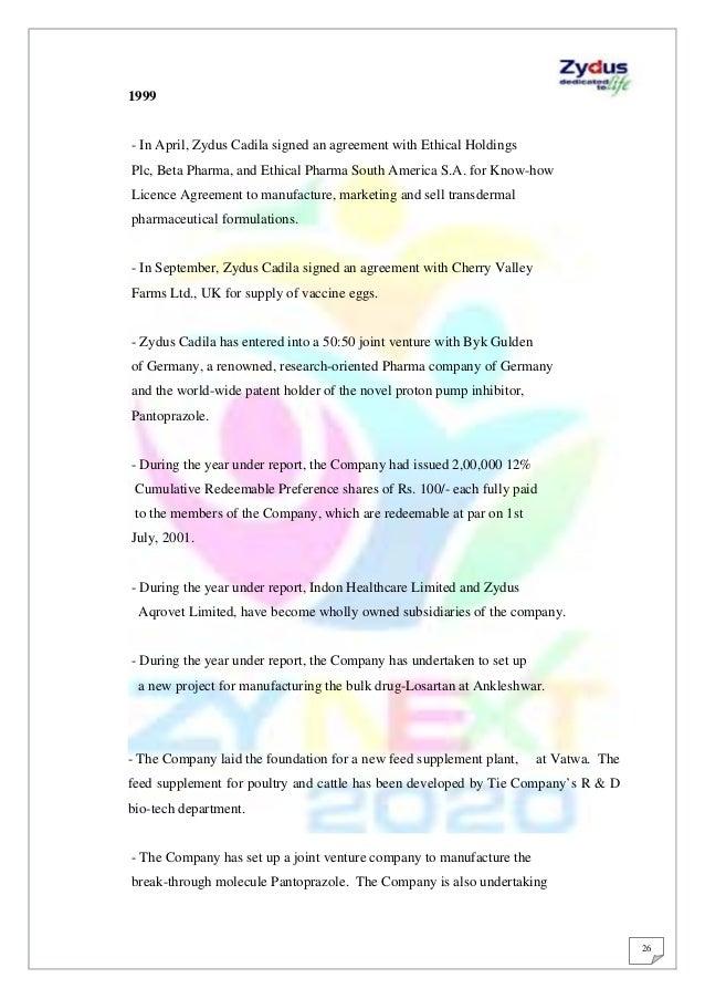 research report on zydus cadila sugar