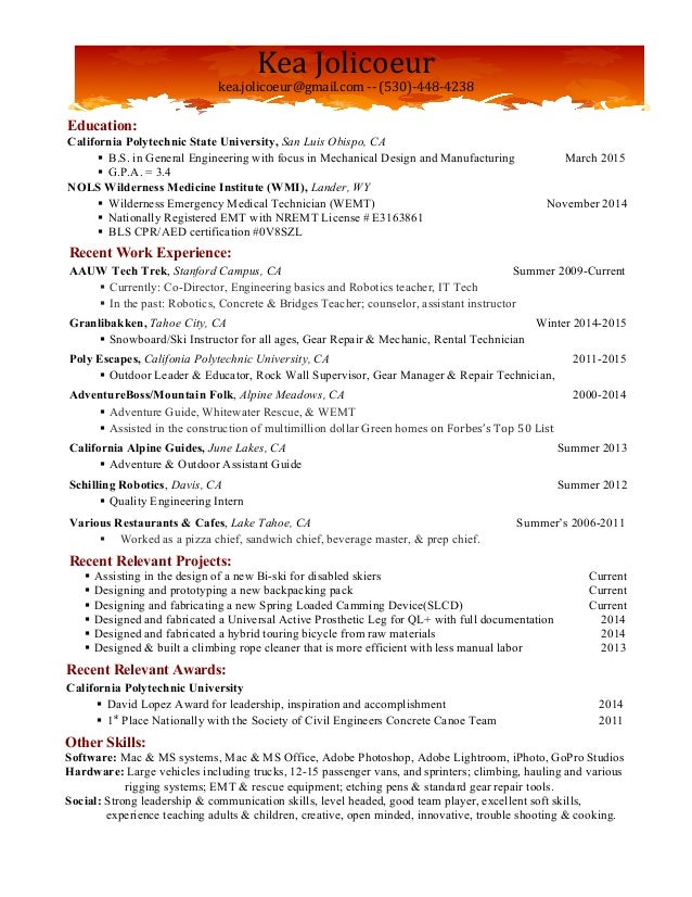 Guide Resume With Cooking Experience