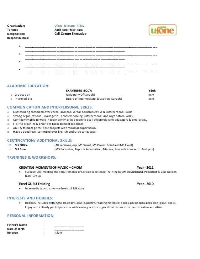 standard professional resume format