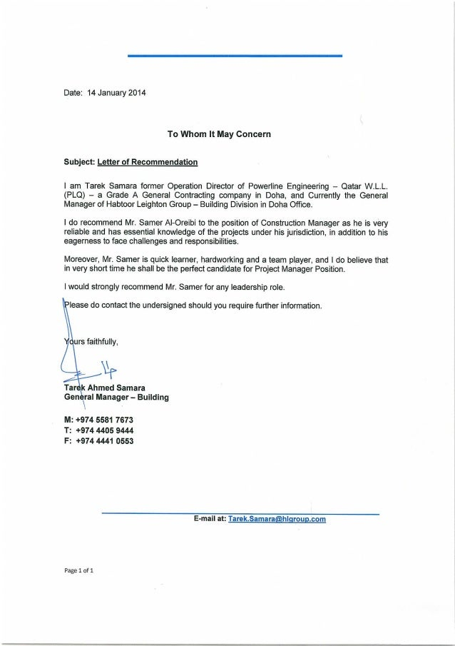 Recommendation Letter (Habtoor leighton Group)