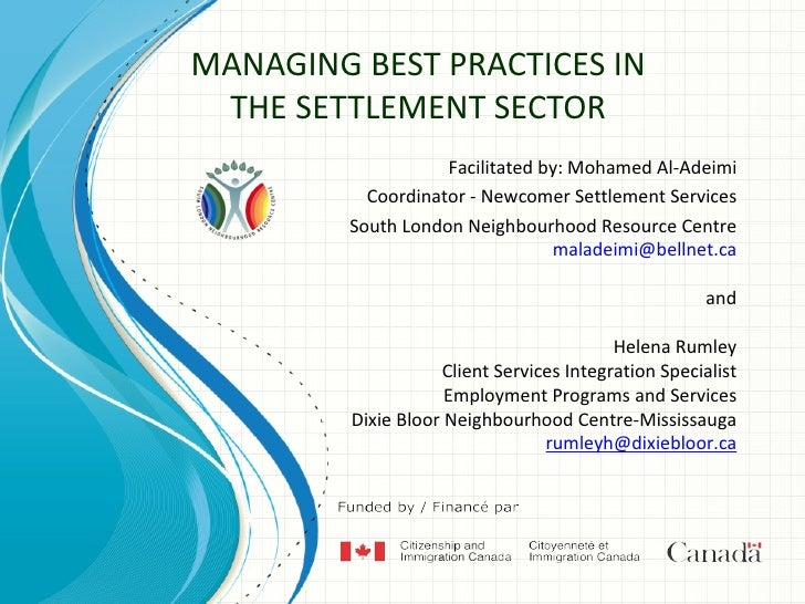 MANAGING BEST PRACTICES IN THE SETTLEMENT SECTOR                    Facilitated by: Mohamed Al-Adeimi           Coordinato...