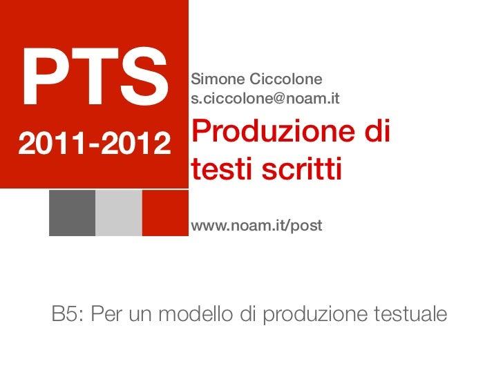 PTS             Simone Ciccolone                s.ciccolone@noam.it          Produzione di2011-2012          testi scritti...