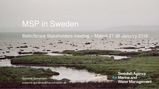 MSP in Sweden BalticScope Stakeholders meeting – Malmö 27-28 January 2016 Susanne Gustafsson susanne.gustafsso@havochvatte...