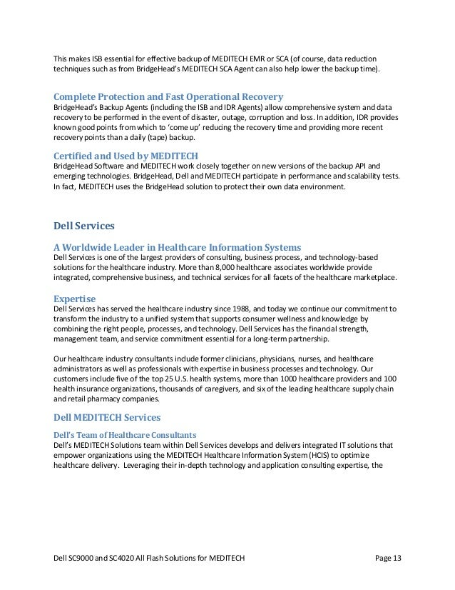 Dell SC4020 and SC9000 All Flash Solutions For MEDITECH Magic CS 5x – Meditech Consultant