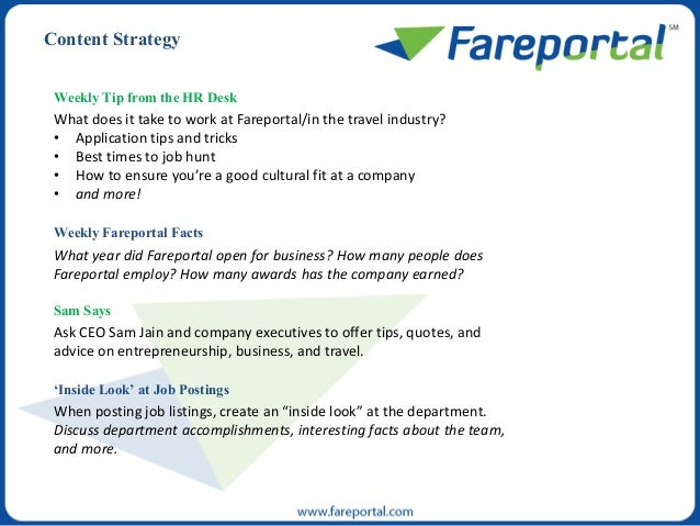 Weekly Tip from the HR Desk What does it take to work at Fareportal/in the travel industry? • Application tips and tricks ...