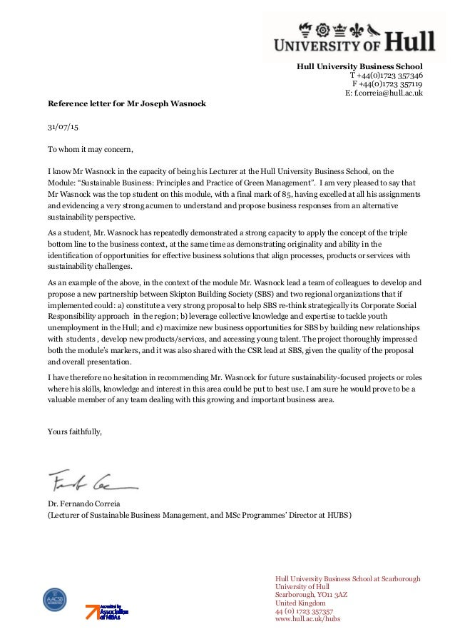 Sustainable Business  Reference Letter