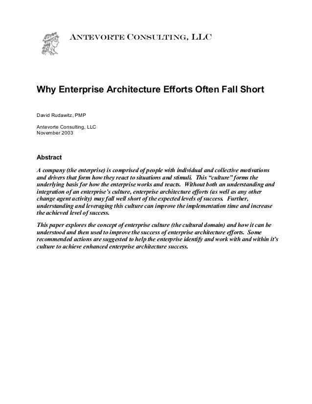 ANTEVORTE CONSULTING, LLC Why Enterprise Architecture Efforts Often Fall Short David Rudawitz, PMP Antevorte Consulting, L...