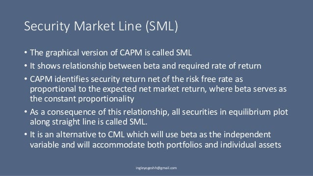 Difference Between Capital Market Line (CML) and Security Market Line (SML)