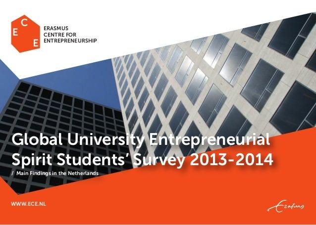 WWW.ECE.NL Global University Entrepreneurial Spirit Students' Survey 2013-2014 / Main Findings in the Netherlands ERASMUS ...
