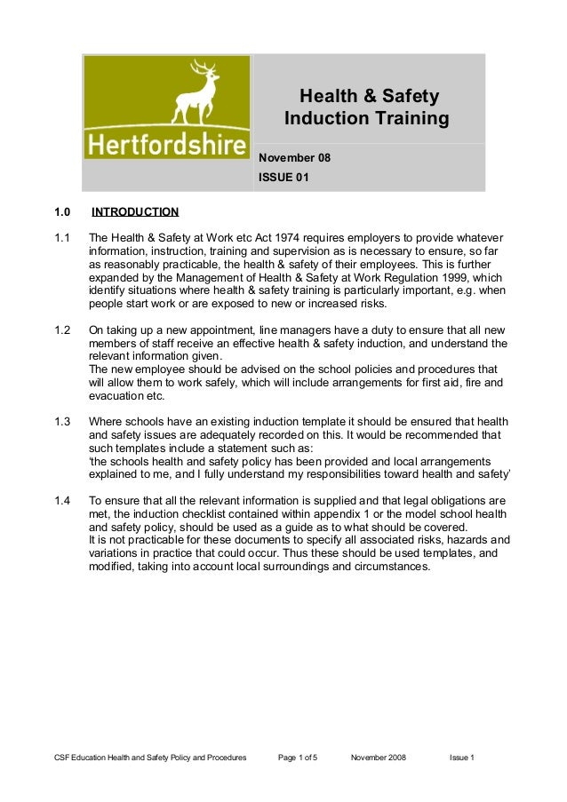 health safety induction training november 08 issue 01 10 introduction 11 the health safety