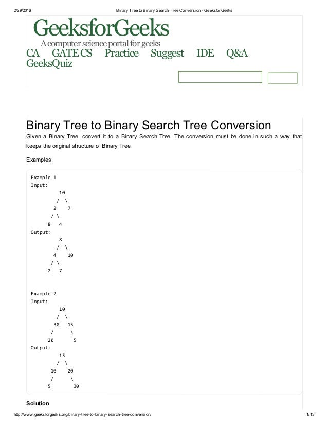 Binary Tree to Binary Search Tree Conversion - GeeksforGeeks