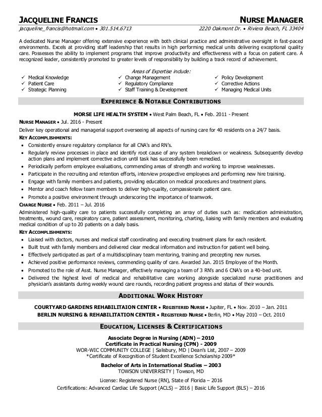 jfrancisnurse manager resume