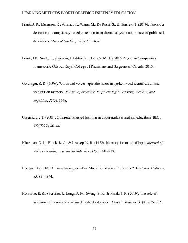 LEARNING METHODS IN ORTHOPAEDIC RESIDENCY EDUCATION  48 Frank, J. R., Mungroo, R., Ahmad, Y., Wang, M., De Rossi, S., & H...