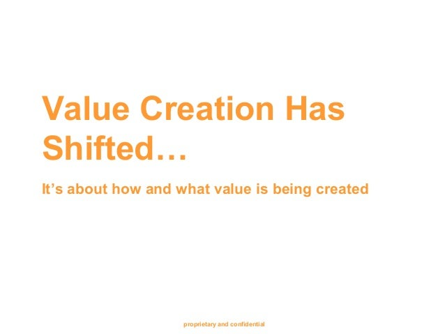 proprietary and confidential Value Creation Has Shifted… It's about how and what value is being created