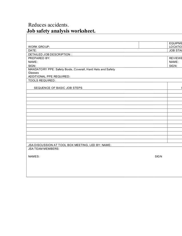 JOB SAFETY ANALYSIS – Job Safety Analysis Worksheet