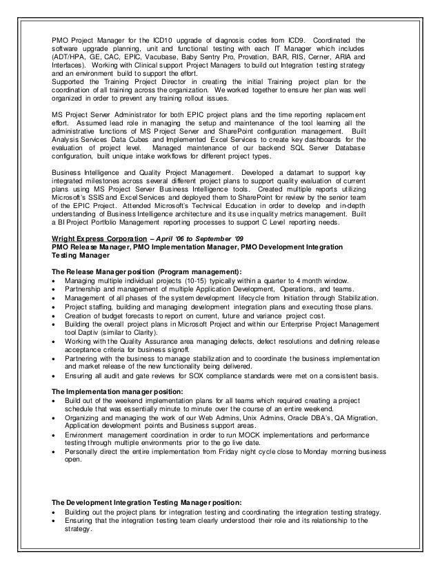 Project server administrator resume