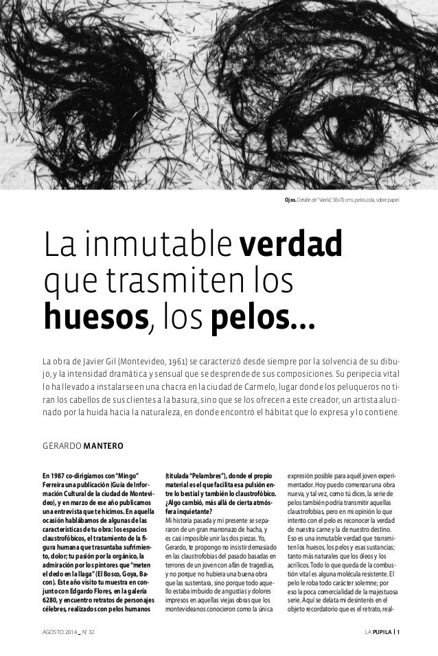 "La Pupila 1AGOSTO 2014 nº 32 Gerardo Mantero Ojos. Detalle de""Varela"", 50x70 cms, pelos,cola, sobre papel. En 1987 co-diri..."