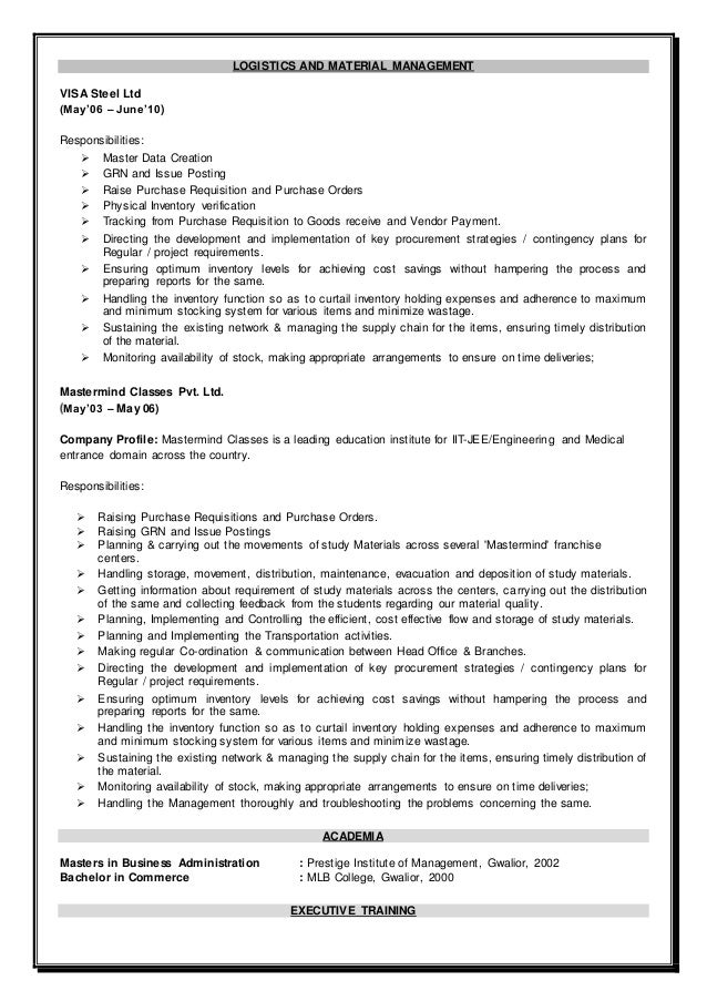 Resume - SAP MM