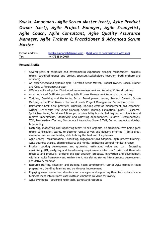Product Manager Resume Agile Free Professional Resume Templates