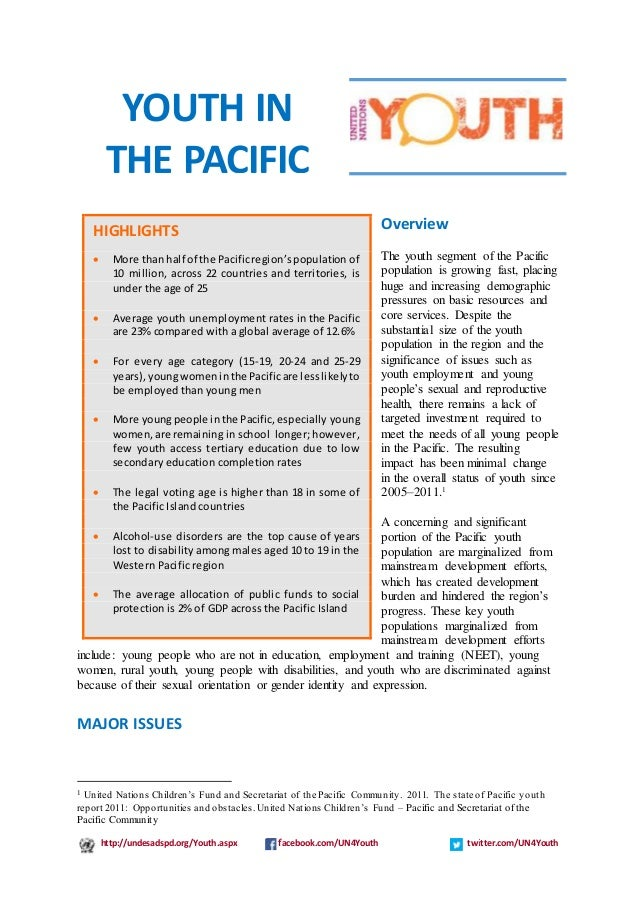 http://undesadspd.org/Youth.aspx facebook.com/UN4Youth twitter.com/UN4Youth Overview The youth segment of the Pacific popu...