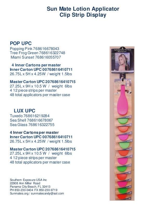 Sun Mate Lotion Applicator Clip Strip Display POP UPC Popping Pink 768616678043 Tree Frog Green 768616322748 Miami Sunset ...