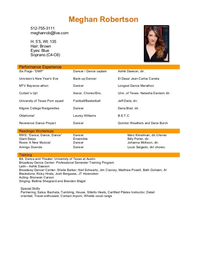 Amazing PERFORMANCE RESUME. Meghan Robertson Special Skills Partnering, Salsa,  Bachata, Tumbling, House, Stiletto Heels Regard To Performance Resume
