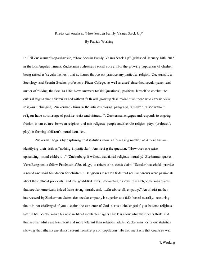 rhetorical analysis essay 1 working rhetorical analysis ldquohow secular family values stack uprdquo by patrick