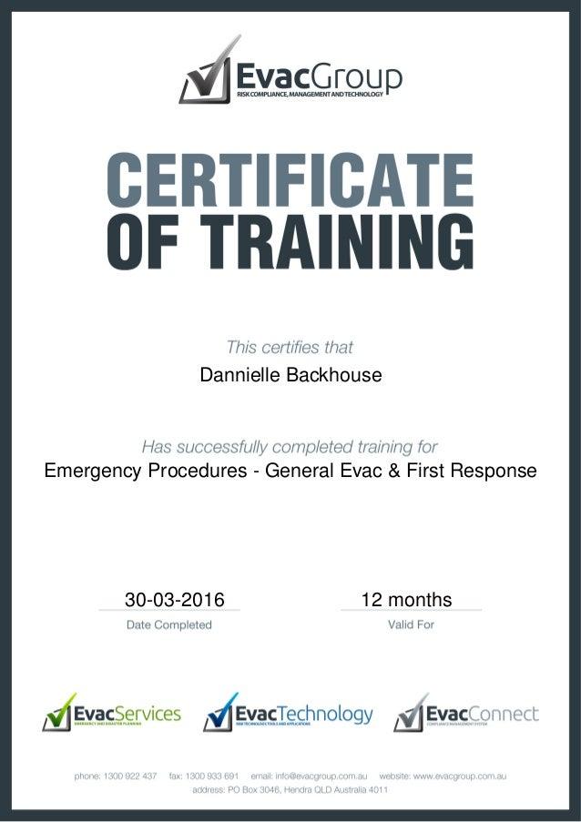 certificate of training emergency procedures general evac first