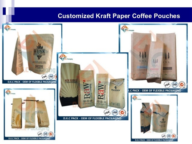 Customized Kraft Paper Coffee Pouches