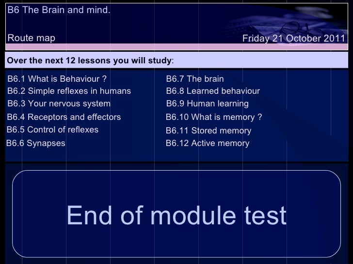 B6 The Brain and mind. Route map Over the next 12 lessons you will study : Friday 21 October 2011 B6.1 What is Behaviour ?...