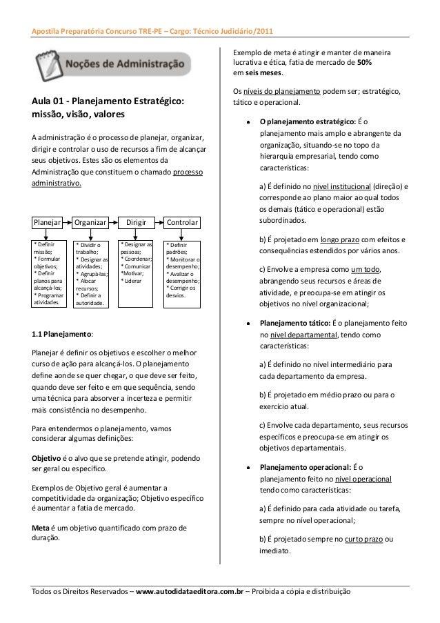 Apostila Preparatória Concurso TRE-PE – Cargo: Técnico Judiciário/2011 Todos os Direitos Reservados – www.autodidataeditor...