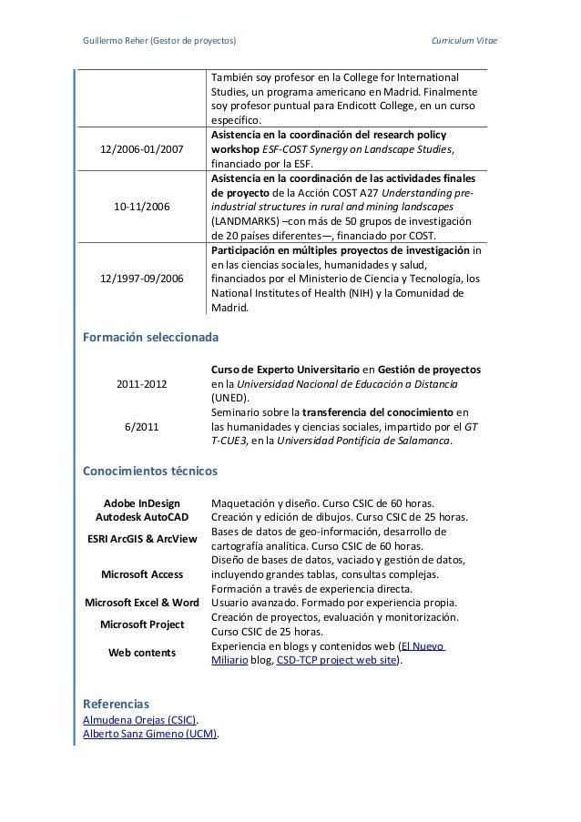 Contemporáneo Es Gestor De Proyectos Currículum Vitae Muestras ...