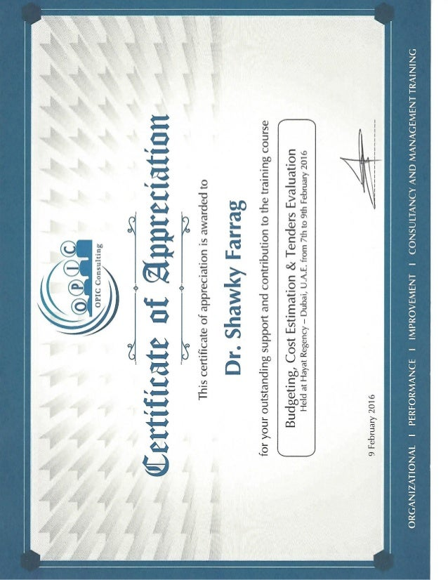 Certificate Of Appreciation Opic Consulting