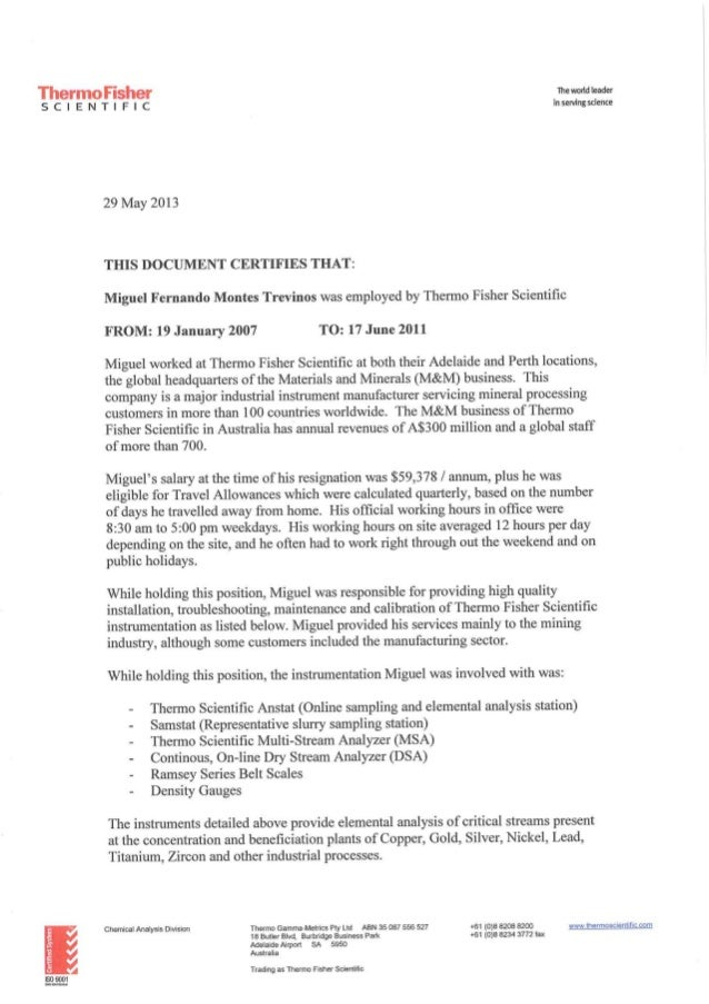 Montes Miguel Confirmation Of Employment Letter Thermo Fisher Scient