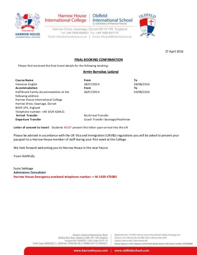 Eu confirmation letter college multi course271212 27 april 2016 final booking confirmation please find enclosed the final travel details for the following spiritdancerdesigns Choice Image