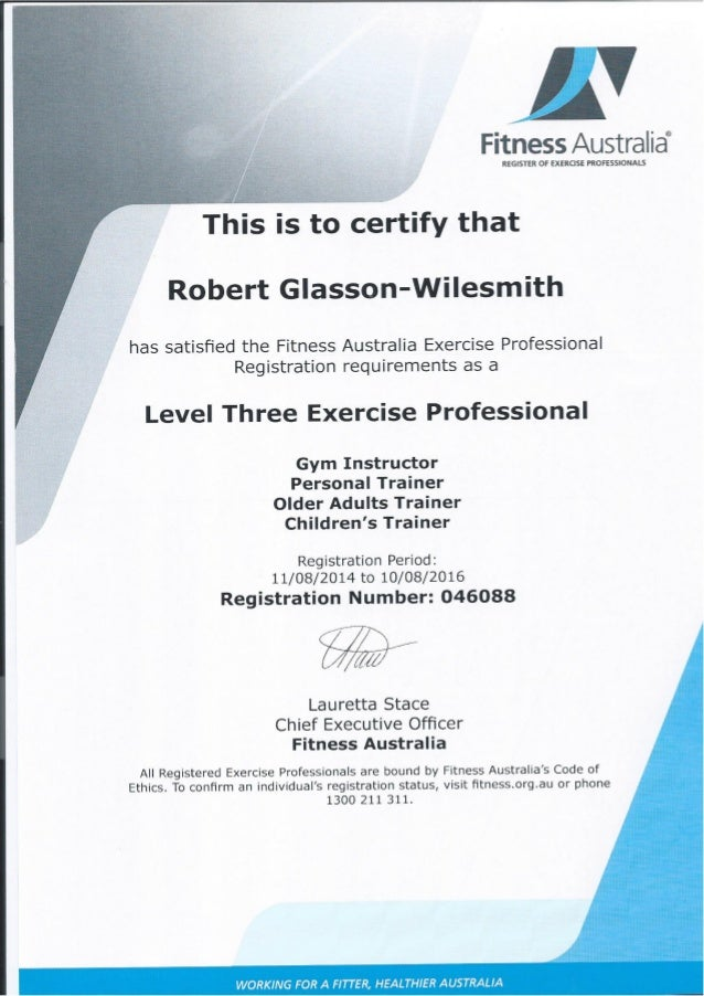 Certificate 3 In Personal Training Gallery Free Certificates For All