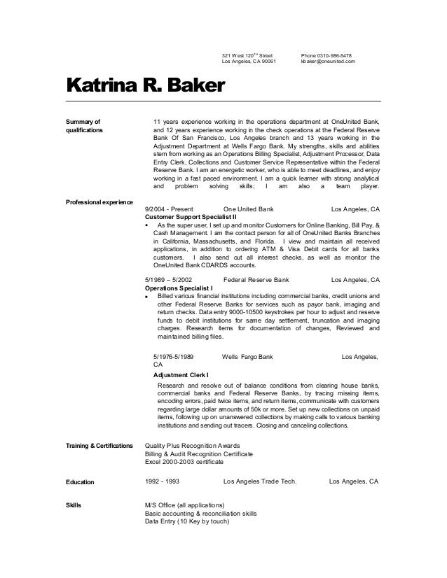 Delightful Katrina Bakeru0027s Resume 2. 321 West 120TH Street Los Angeles, CA 90061 Phone  0310 986 5478 Kbaker ... Regarding Baker Resume