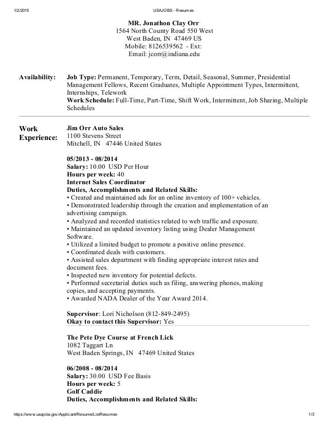 usa jobs resume example