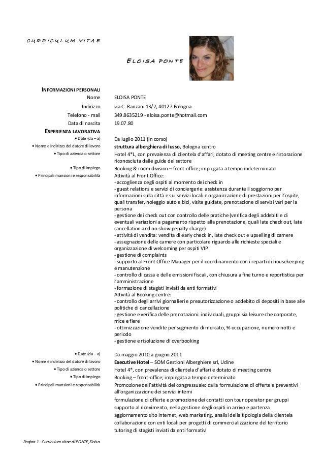 curriculum vitae europeo esempio compilato impiegata