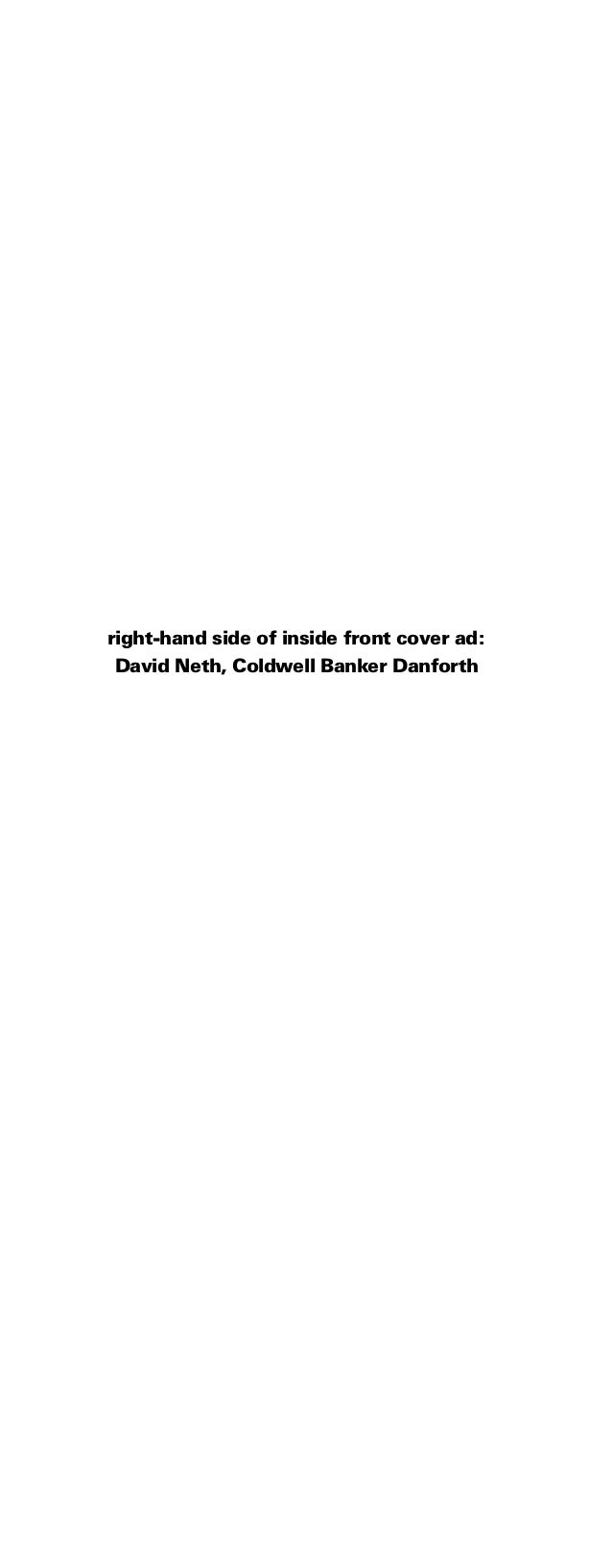 right-hand side of inside front cover ad: David Neth, Coldwell Banker Danforth