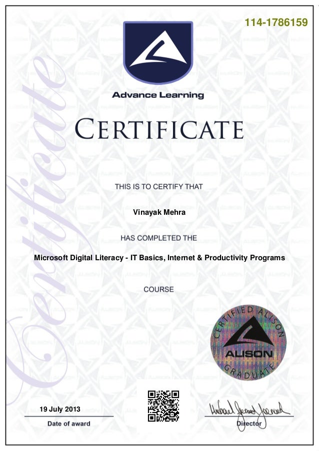 Digital Literacy Certificate