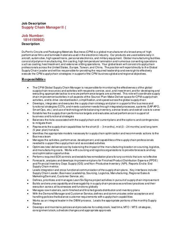 Good Job Description Supply Chain Manager II ( Job Number: 1814150902)  Description DuPontu0027s Circuits And ...