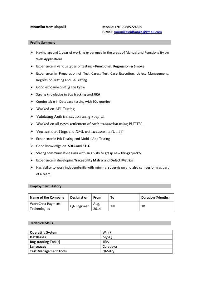 Mounika Vemulapalli Mobile:+ 91 - 9885724359 E-Mail: mounikasridharala@gmail.com Profile Summary  Having around 1 year of...
