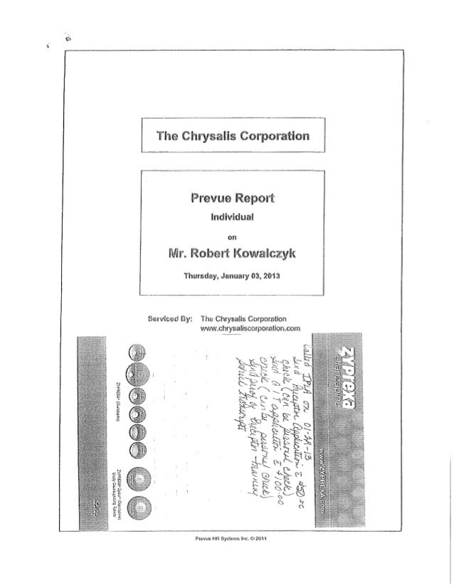 Summarized Chrysalis Report